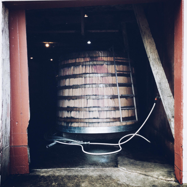 """""""Old wine vat at winery"""" stock image"""