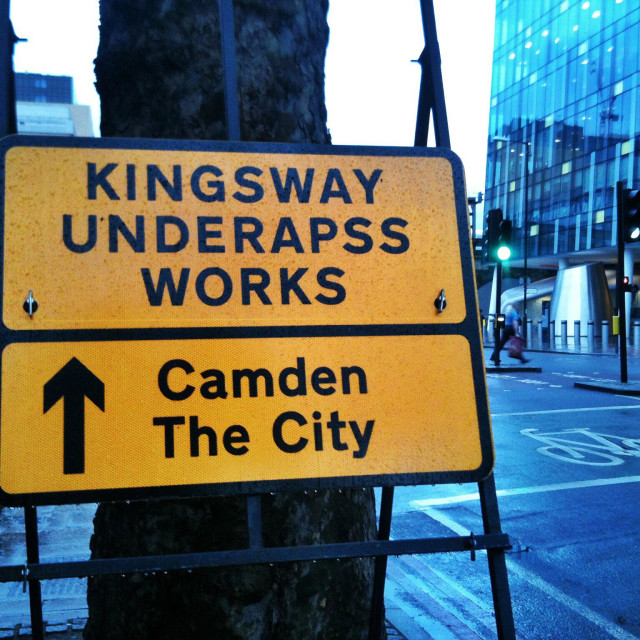 """""""A misspelt road sign in London"""" stock image"""