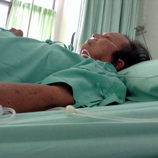 """""""Thai old man on bed in hospital"""" stock image"""