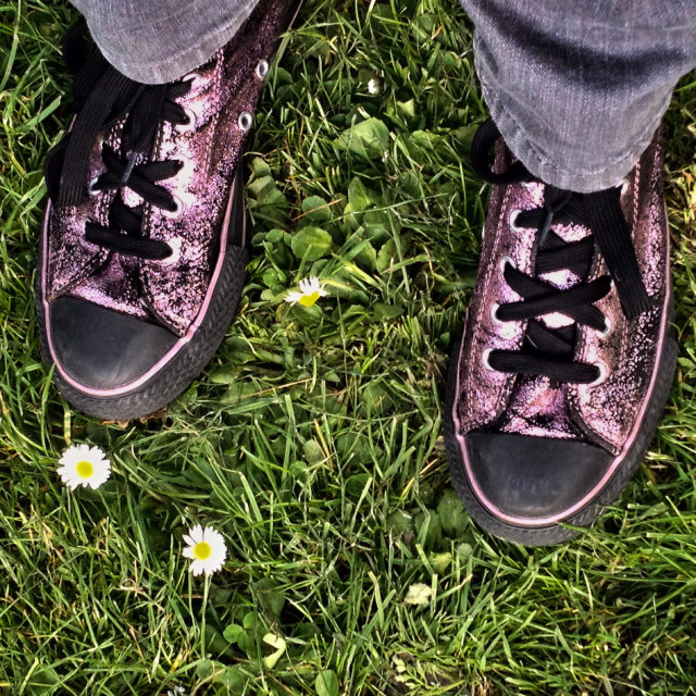 """""""Purple glittery sneakers among the daisies"""" stock image"""
