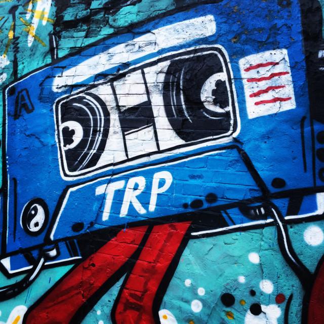 """Cassette Tape Streetart, Shoreditch, London"" stock image"