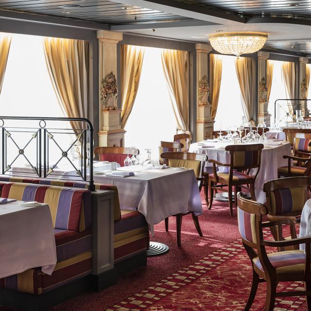 """Interior of a cruise ship restaurant"" stock image"