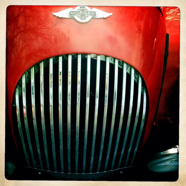 """""""Red Morgan front engine grille"""" stock image"""