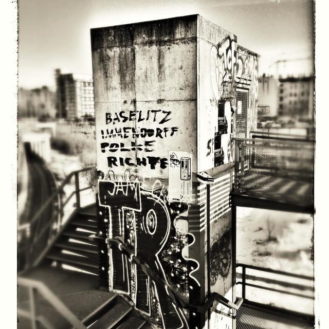 """Berlin graffity in an industrial / transportation area"" stock image"