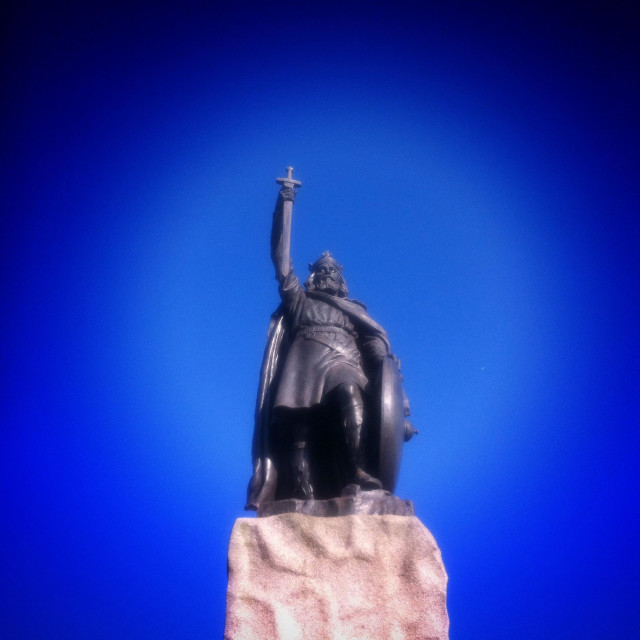 """King Alfred the great's statue Winchester Hampshire England"" stock image"