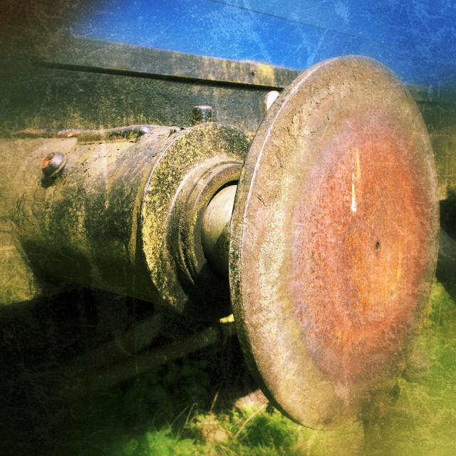 """Old rusty and grungy railway train buffer"" stock image"