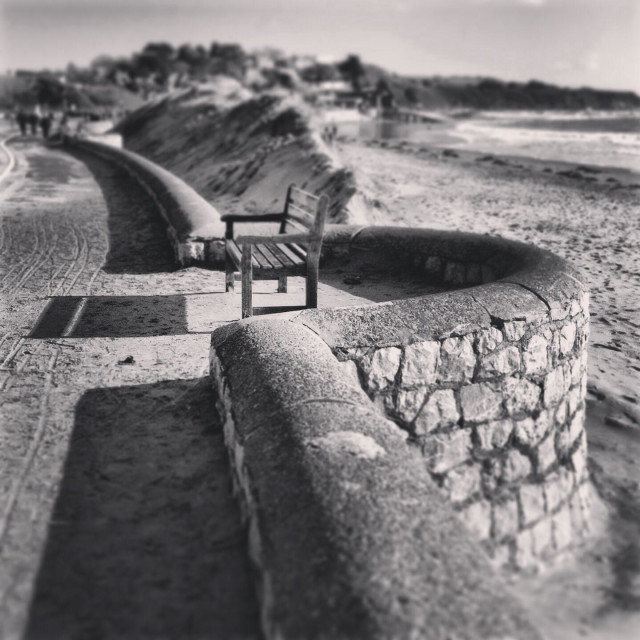 """""""Bench on exmouth beach"""" stock image"""