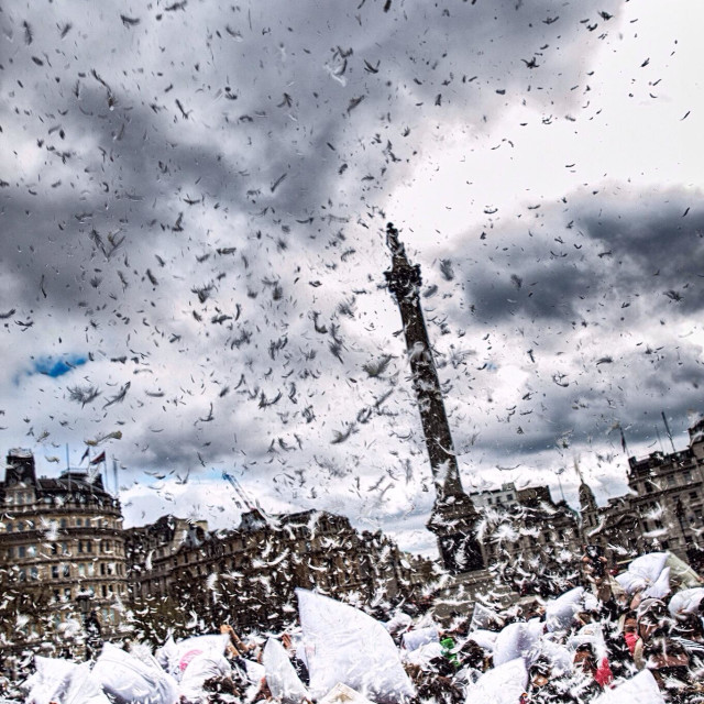 """International pillow fight 2014 in london"" stock image"