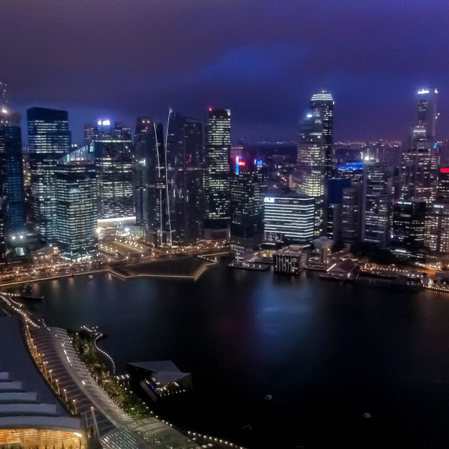 """Singapore Financial District, Nightshot"" stock image"