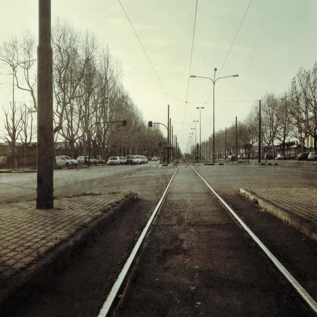 """Binary of tram in Turin"" stock image"