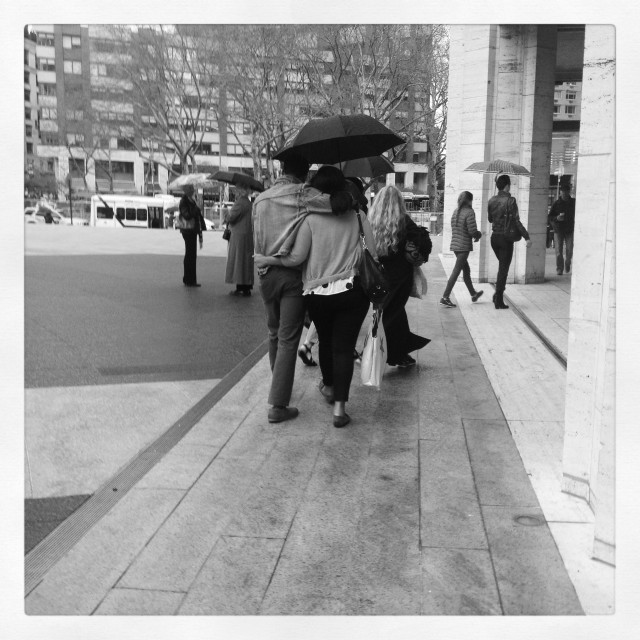 """""""Rainy day at Lincoln Center in NYC"""" stock image"""