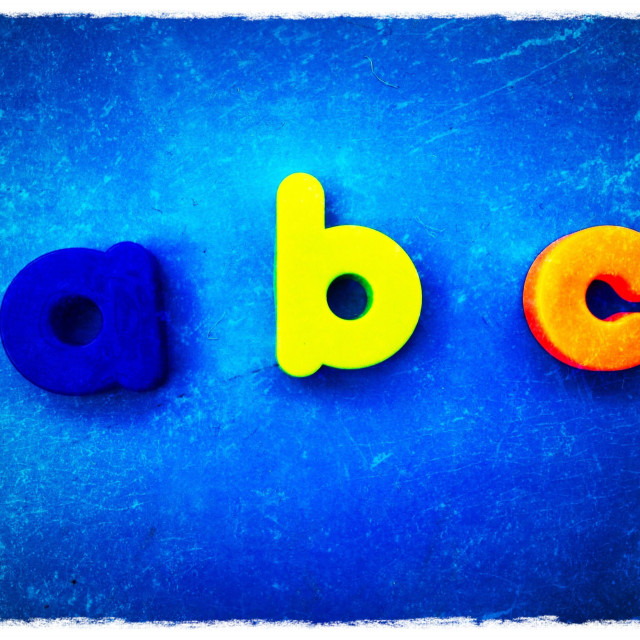 """Abc written using magnetic letters"" stock image"