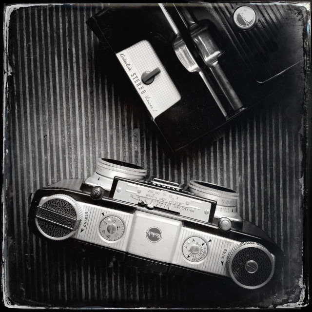 """Old Kodak film stereo kit camera and viewer"" stock image"