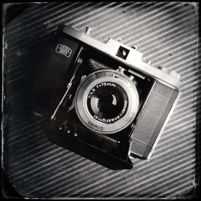 """""""Old vintage Zeiss bellows film camera"""" stock image"""