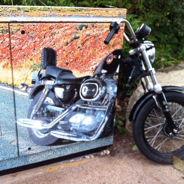 """Eden Project Motorbike Modern Art Piece"" stock image"