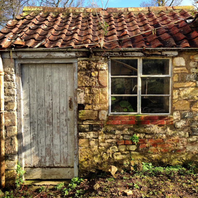 """Gardeners potting shed"" stock image"