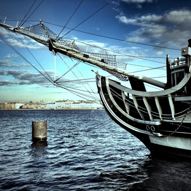 """Sailing ship in St. Petersburg. Neva river, Russia."" stock image"
