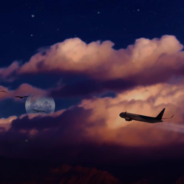 """""""Nubes con luna, avión y aves"""" stock image"""