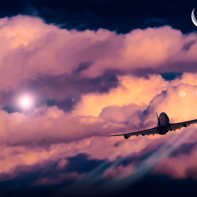 """""""Nubes con luna y avión"""" stock image"""