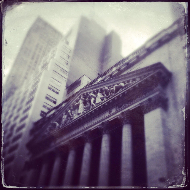"""""""The outside of the New York Stock Exchange building in the financial district of New York."""" stock image"""