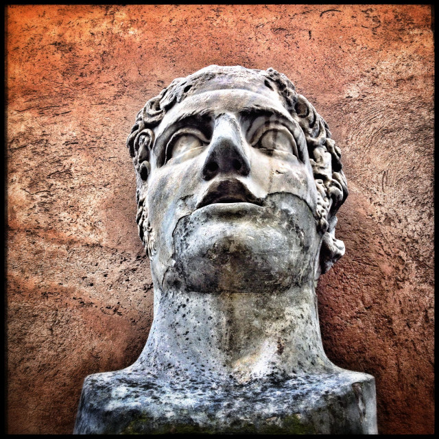 """""""Colossal male head in Castel'Sant Angelo, Rome, Italy, dating from the second century AD."""" stock image"""