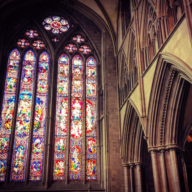 """West facing window of Hereford Cathedral, England, UK"" stock image"