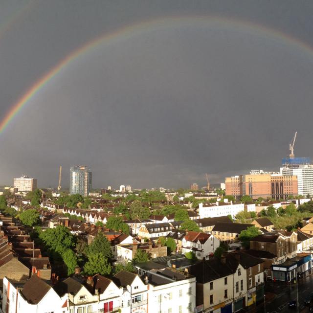 """Rainbow in Croydon"" stock image"