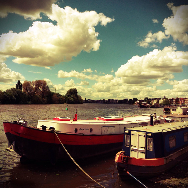 """""""Boats moored on the River Thames at Hammersmith, London, UK"""" stock image"""