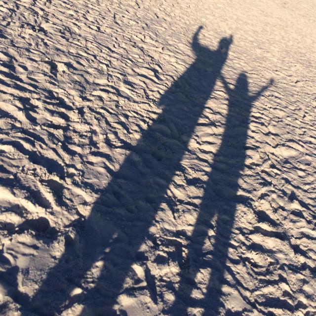"""Good friends enjoying the Siesta Key, Florida beach April 2014."" stock image"