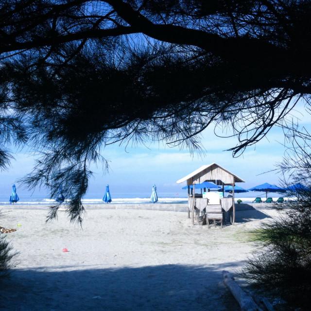 """Huts overlooking the sea on the Panjang Beach, Bengkulu, Sumatera, Indonesia"" stock image"