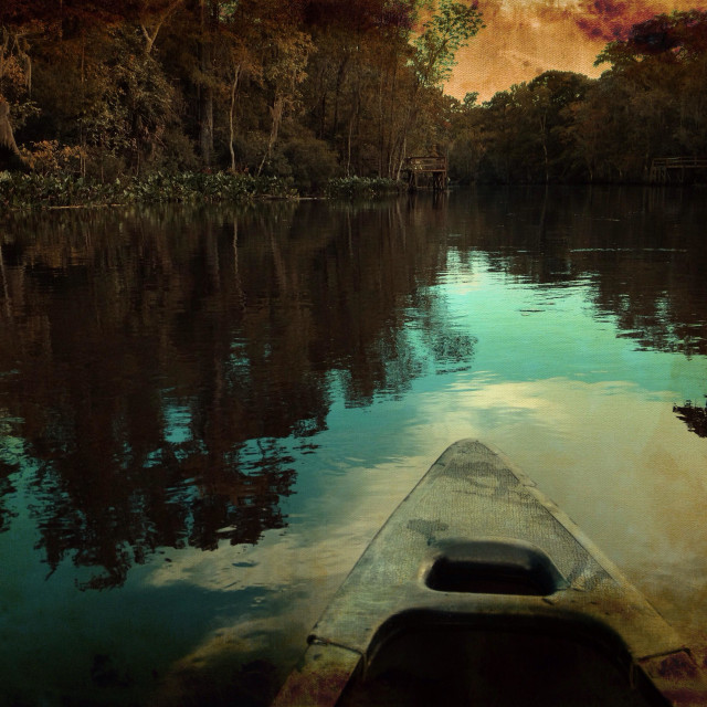 """Canoeing down river."" stock image"