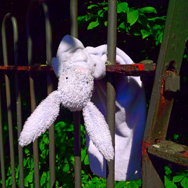 """""""An abandoned or lost cuddly rabbit toy left on a park fence in London."""" stock image"""