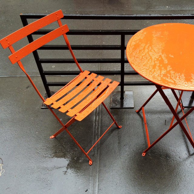 """""""French bakery on Broadway, Manhattan. Outdoor table."""" stock image"""