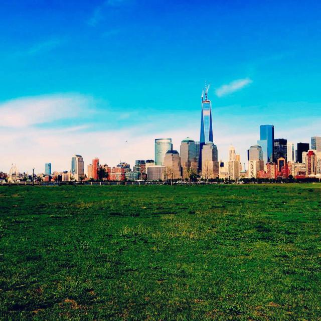 """Lower Manhattan via Liberty State Park"" stock image"