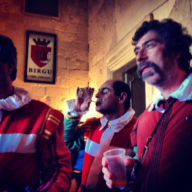 """Members of Inguardia living history group, as Knights of St John, Birgu, Cottonera, Valletta, Malta"" stock image"