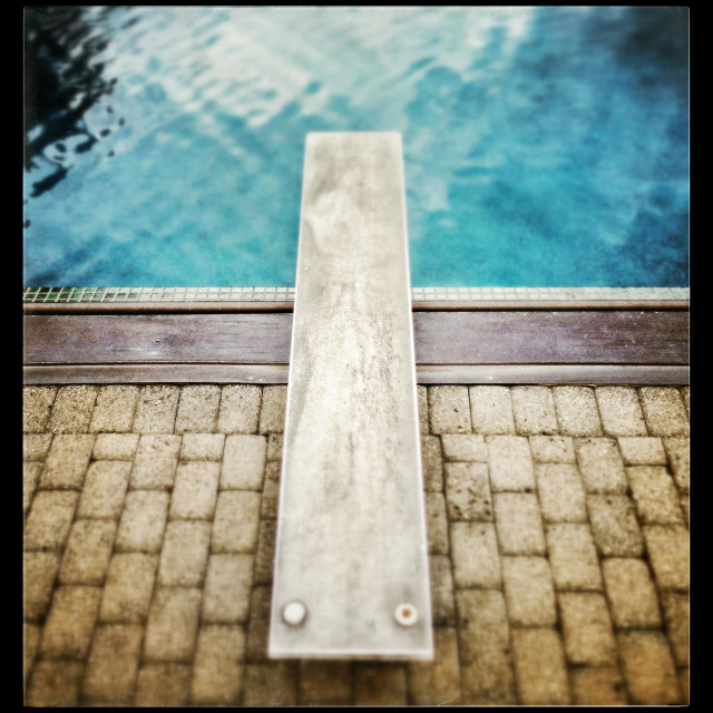 """Diving board up at pool"" stock image"