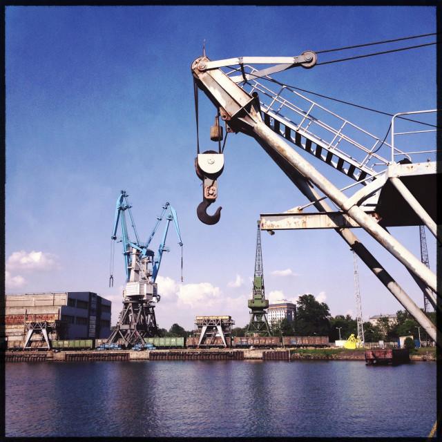 """""""Cranes in the seaport. Baltic Sea"""" stock image"""