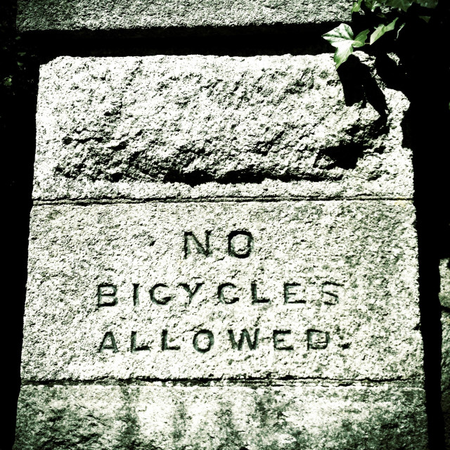 """No bicycles allowed"" stock image"