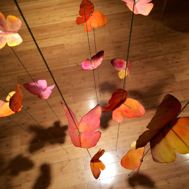 """""""pre-school craft: a paper butterfly mobile"""" stock image"""
