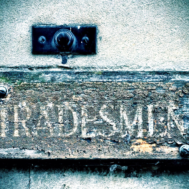 """""""Tradesmen entrance and bell"""" stock image"""
