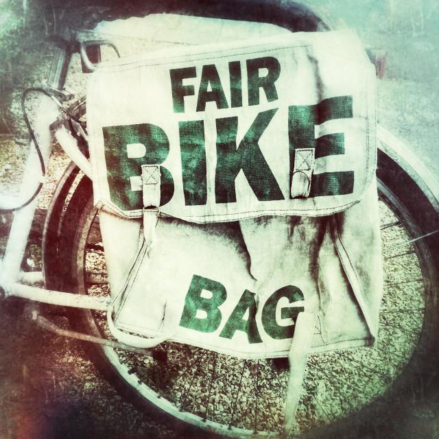 """Fair Trade bicycle pannier bag"" stock image"