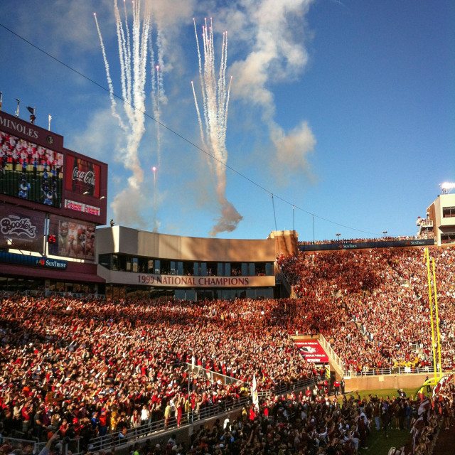 """Excitement fills the air for Florida State football at FSU's Doak Campbell Stadium in Tallahassee, Florida, USA."" stock image"