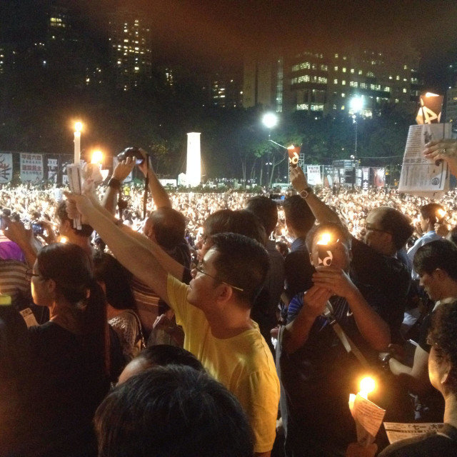 """""""June 4 Candlelight Vigil in Hong Kong to mark the 25th anniversary of the 1989 Tiananmen Square massacre in Beijing."""" stock image"""