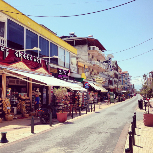 """Paralia town , low season, Greece"" stock image"