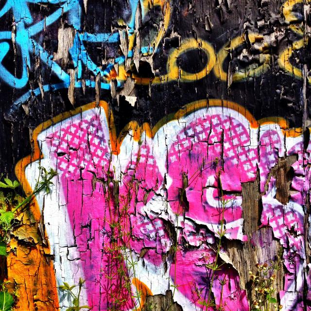 """""""Peeling graffiti"""" stock image"""