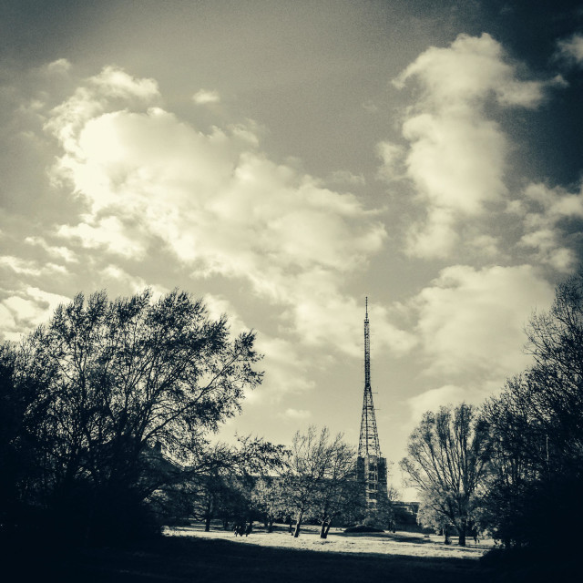 """Broadcast mast at Alexandra Palace"" stock image"
