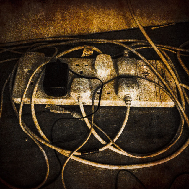 """""""Cable extension with lots of plugs"""" stock image"""