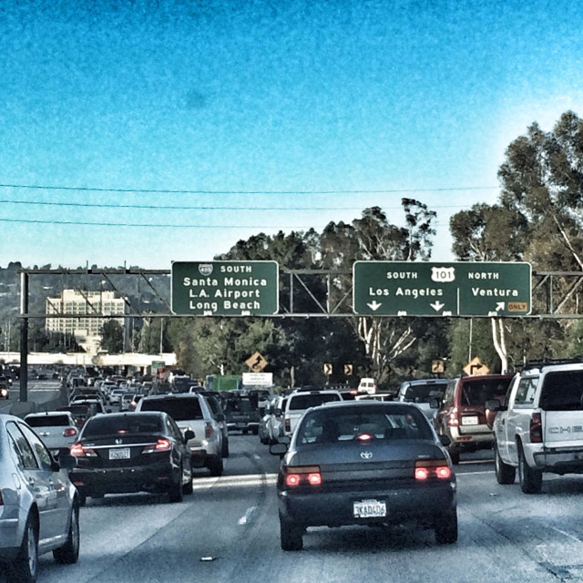 """""""Queue of traffic on the 405 Freeway during morning rush, Los Angeles, California. USA"""" stock image"""