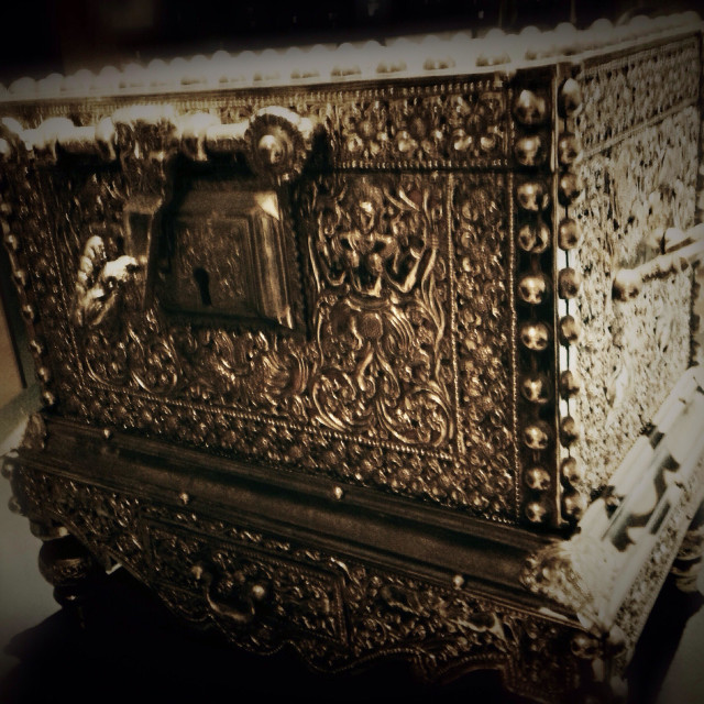 """An antique treasure chest"" stock image"
