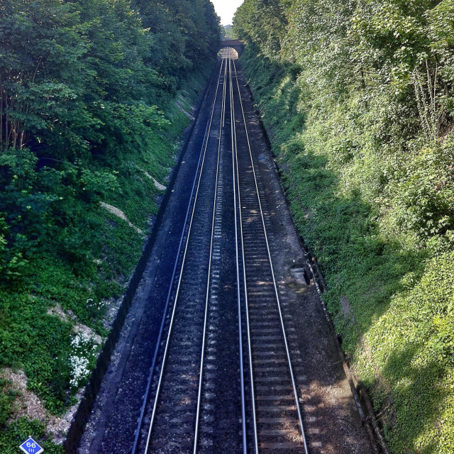 """Railway tracks Winchester, Hampshire, England."" stock image"